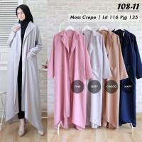 Alisa Long Coat / Outer Cardy Wanita Hijab Cardigan Blazer Panjang
