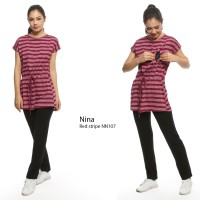 Justmom Baju menyusui NINA Red Stripe NN107