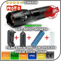 PAKET HEMAT Senter E17 LED Cree XM-L T6 2000 Lumens Battery Charger