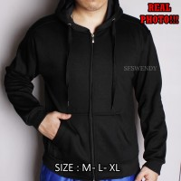 PREMIUM !!! Jaket Hoodie Zipper pria polos All black hitam M L XL