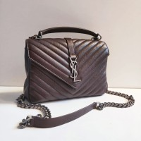 21fb9c193a TAS YVES SAINT LAURENT ORIGINAL - YSL COLLAGE MEDIUM DARK BROWN c