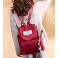 Ransel Cewek Red Kuliah korea wanita backpack merah import 11317