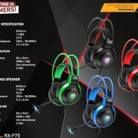Rexus Vonix F75 RGB LED Professional Gaming Headset PC Mobile Series
