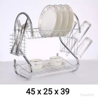 rak piring 2 susun layer tingkat stainless gelas dapur dish drainer
