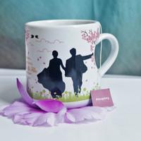 MUG LOVE WEDDING SOUVENIR CANTIK   SOUVENIR GELAS   DESAIN ELEGAN