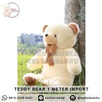 Boneka Teddy Bear Jumbo Uk 1 Meter Warna Cream Model Teddy Bear Import