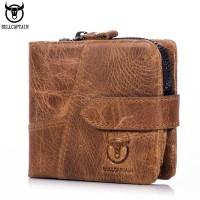 Dompet Pria BULLCAPTAIN Vintage Leather Trifold Wallet Men Short Hasp