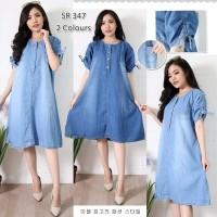 Baju Wanita Dress Casual Pendek Baju Hamil Jeans Jumbo Big Size XL 075