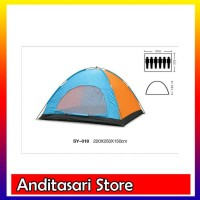 &#40-VNTG&#41- Tenda Dome Single Layer Kap 6 Orang Alas Terpal PE