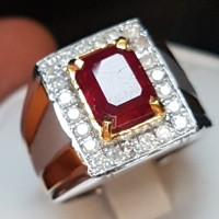 C782 cincin perak silver ruby rubi & intan berlian diamond no 17/7.75