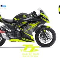 Decal Stiker Ninja 250 R FI BLACK TT ISLE OF MAN TT YELLOWLIME