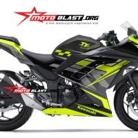 Decal Stiker Ninja 250 R FI BLACK TT ISLE OF MAN TT YELLOWLIME V1