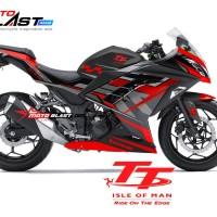 Decal Stiker Ninja 250 R FI BLACK TT ISLE OF MAN TT RED