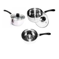 Panci Sauce Pot Set 3 Pcs Dengan Tutup Kaca- Stainless Steel