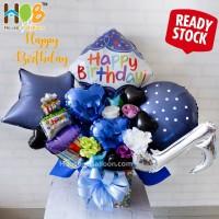 Parcel Balon Table Bunga Bouquet / Buket Happy Birthday Blue