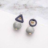LRC Anting Tusuk Fashion Gray Pom Ball Shape Decorated Earrings F06902