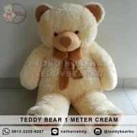 Jual Boneka Teddy Bear Jumbo 1 Meter Warna Cream Khas Bandung