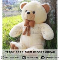 Boneka Teddy Bear Cream XL 75CM Model Teddy Bear Import
