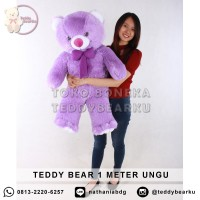 Jual Boneka Teddy Bear Jumbo 1 Meter Warna Ungu Khas Bandung
