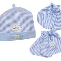 miyo garis set topi segiempat dan sarung tangan kaki salur biru