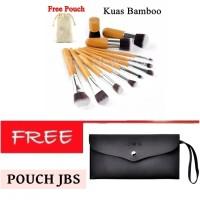 JBS New York makeup brush 11pcs makeup brush set bamboo + Dompet Kuas
