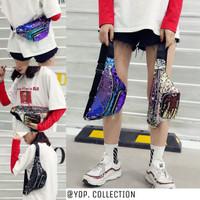 Waist Bag Sequin Glitter Fashion Import / Waistbag Sequin Wanita