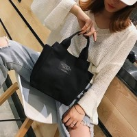 DROP3355 Black | Simple Canvas Bag Koleksi Caciku Shop