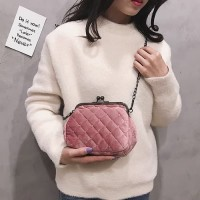 DROP3360 Pink | Velvet Chain Small Bag Koleksi Caciku Shop