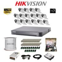 Paket Lengkap CCTV Hikvision Turbo HD 7216 16CH Outdoor 2MP 1TB @300M