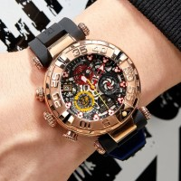 Luxury Mens Sport Watches Chronograph Rose Gold Skeleton Watches