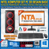INTEL KOMPUTER SET PC 3D DESAIN BASIC
