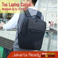 Tas Backpack Laptop Notebook Kerja Kuliah Unisex USB Casual Denim