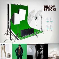 Paket tiang stand Green screen lighting video foto softbox - Putih Hitam Ijo