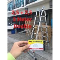 Tangga Lipat Aluminium Teleskopik 5M Double Telescopic Ladder 5 Meter
