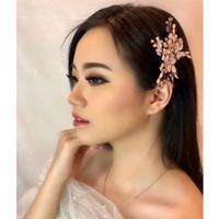 Sirkam Bunga Aksesoris Hiasan Rambut Hairpiece Pesta Pengantin - Rose Gold