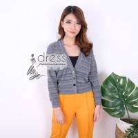 Sweater Rajut Stretch Striped Garis Outwear Baju Pakaian Wanita Casual