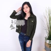 Jaket Army Jeans Jacket Hijau Outwear Baju Pakaian Wanita Casual
