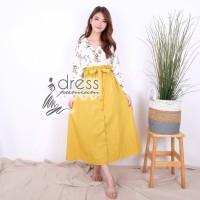Maxi Rok Panjang Long Skirt Katun Kuning Pink Pakaian Wanita Casual