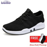 Leedoo Sepatu Sneakers Pria Import Running Shoes Young Lifestyle EE01 - Hitam, 43