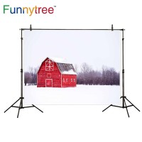 Funnytree photography backdrops bright red wooden house snow winter