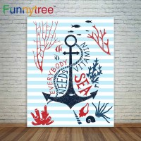 Funnytree photography backdrops blue stripes sea theme anchor seabed