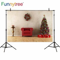 Funnytree photography backdrops christmas garland red chair tree