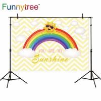 Funnytree photography backdrops rainbow sun clouds chevron customize
