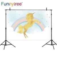 Funnytree photography backdrops rainbow color golden unicorn