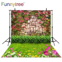 Funnytree photography backdrops stone red colorful flowers lawn