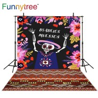 Funnytree photography backdrops skull day of the death flower linen