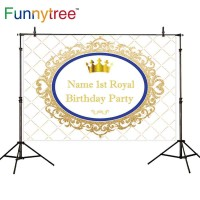 Funnytree photography backdrops golden glitter floral blue frame