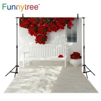 Funnytree photography backdrops red rose flower bench window scenery