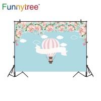 Funnytree photography backdrops hot air balloon flower watercolor