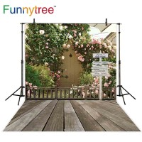 Funnytree photography backdrops leaves pink flowers wood sign